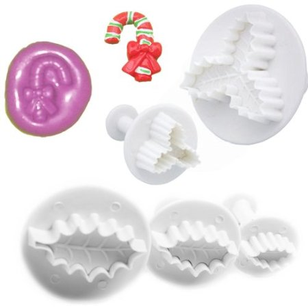 Veined Holly Leaf Plunger Set, Three Leaf Holly Plunger Cutter, & Candy cane Mould