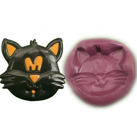 Witch's Cat Face Cake Decoration Silicone Mould